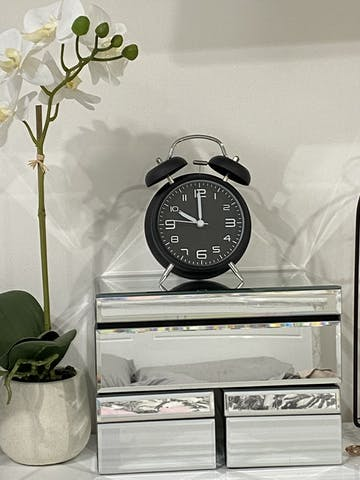 TFA Loud Double Bells Alarm Clock, Black, 16cm