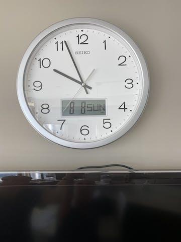 Seiko Morgan Analogue with Digital Calendar Wall Clock, 35cm