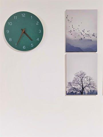 TFA Melany Minimalist Wooden Hands Wall Clock, Jade Green, 30cm
