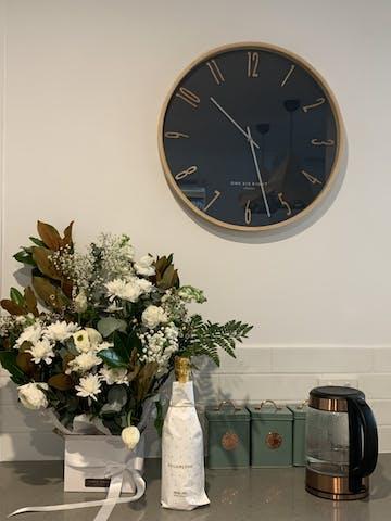 One Six Eight London Callum Wooden Wall Clock, Petrol Blue, 53cm