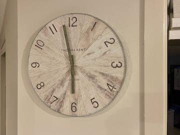 Thomas Kent Wharf Wall Clock, Pickled Oak, 38cm