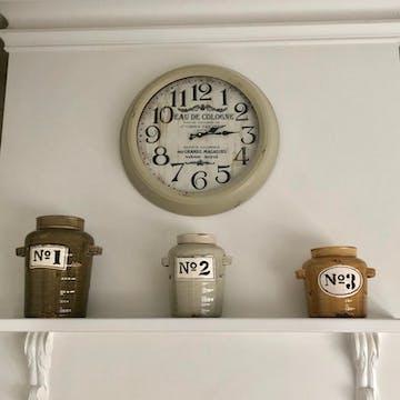 Eau De Cologne Vintage Metal Wall Clock, 47cm