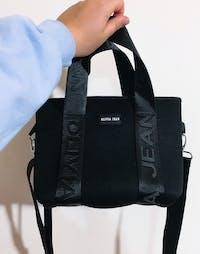 Harper (Ribbed Black) Mini Neoprene Tote/Crossbody Bag