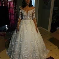 Batist by Olivia Bottega Full-Skirt Glittered Wedding Dress   Wedding Gown with Glitter   Sparkling Wedding Dress   Fairy Tale Wedding