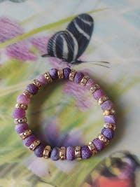 Purple Love Crystal Beaded Bracelet