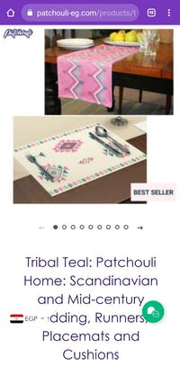 Tribal Teal: Patchouli Home: Scandinavian and Mid-century Bedding, Runners, Placemats and Cushions
