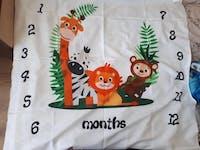 """Couverture évolution mensuelle bébé """" Jungle """""""