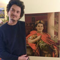 Golden Wreath personalized male portrait