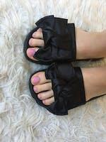 DAISY - black satin bow slides