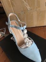 ABBY - light blue heeled sandal with diamonds
