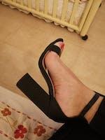 SELENE - block heel sandals in black snake