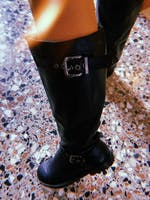 RIA - flats over the knee boots in black