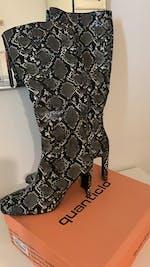 MARIANNA - stivali alti pitonati grigi con tacco