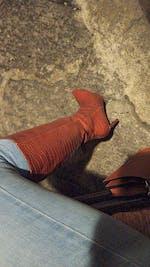 TECLA - stivali alti pitonati marroni con tacco a spillo