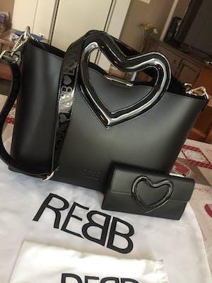 Rebb LOVE 2020 con portafoglio abbinato, in pelle bianca con decorazione a cuore