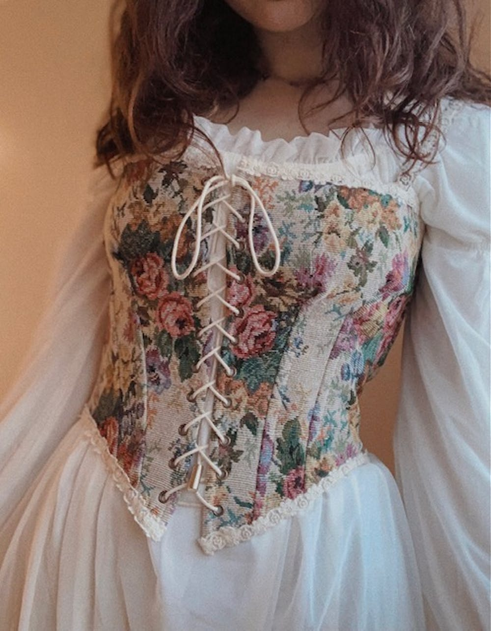 Vintage Floral Jacquard Lace up Corset