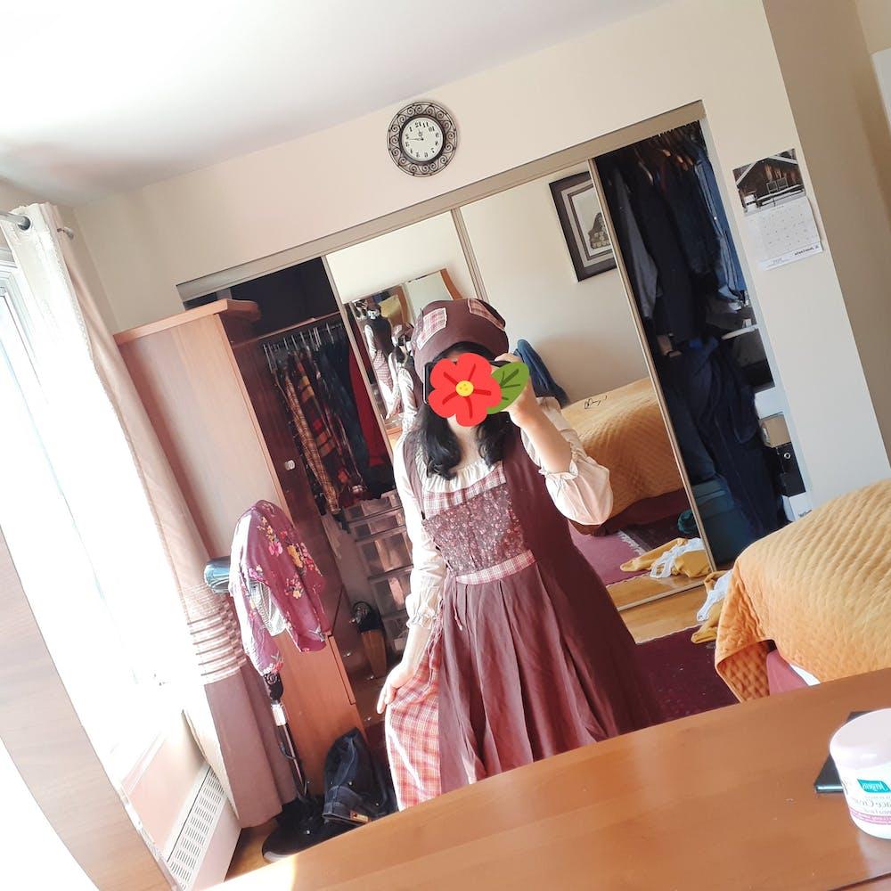 Farmcore Cottagecore Fabric Stitching Prairie Peasant Vintage Dress