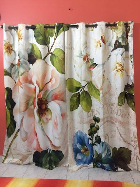 Premium Blackout Digital Curtains - Elegant Flora(Set of 2)