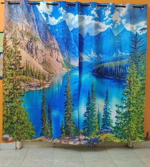 Premium Blackout Digital Curtains - Landscape of Serenity(Set of 2)