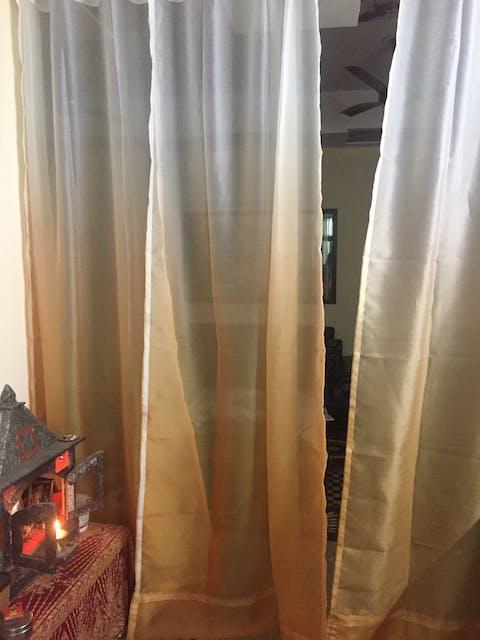 Royal Shading Effect Sheer Curtains - Amber Yellow