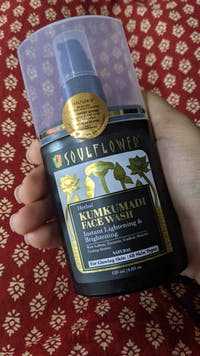 Soulflower Herbal Kumkumadi Face Wash With Saffron, Turmeric, Gudhal, Mulethi Cooling Aloe Vera instant brightening & glowing skin, 120ml