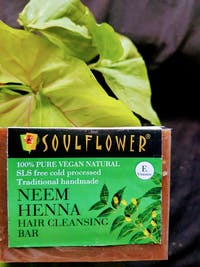 Soulflower Neem Henna Hair Cleansing Bar  with Natural Butter for Oil Free Scalp, Dandruff Control & Long Hair, 150g