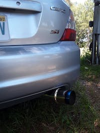 """SPELAB N1 Universal 2.5"""" Inlet 4"""" Outlet Performance Exhaust Muffler with Straight Blue Burnt Tip - Moderate Sound"""