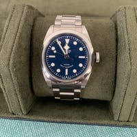 Jefferson - 3 Watch Roll - Saffiano Navy Blue | Forest Green Velvet