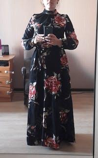 High Neck Print Long Sleeved Bohemian Elegant Party Dress