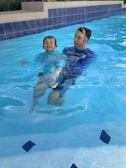 "Sunsuit - Boy Long Sleeve Romper with UPF 50+ UV Sun Protection   ""Deep Blue Shark"""