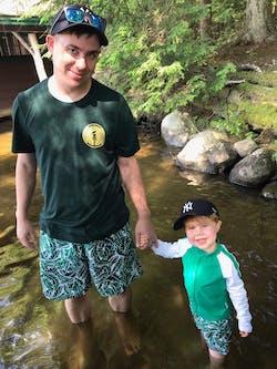 "Boy Long Sleeve Rash Guard Swimsuit and Swim Trunk Set   ""Palm Leaf"""