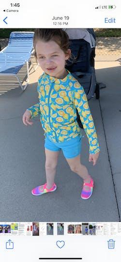 "Girl's Long Sleeve Rash Guard with Tankini + Shorts Set (3 Piece) - ""Lemons"""