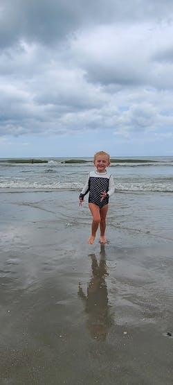 "Girl's Long Sleeve Surf Suit (1 Piece) - ""Black Polka Dot"""