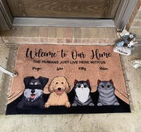 Welcome To The Pet Home - Funny Personalized Pet Decorative Mat (Cat & Dog)