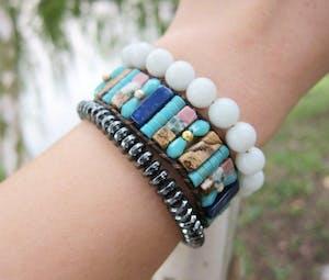 Ocean turquoise Mixed Beads - Bohemian Wrap Bracelet