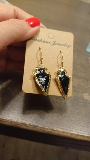 Natural Obsidian Stones Arrowhead Bohemian Dangle Earrings