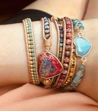 Hippie Heart Leather Wrap Bracelet