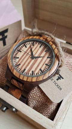 Alpine I | Ebony & Zebra Wood Watch | Wooden Watches UK