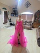 Spaghetti Strap Fuchsia Tulle Prom Dresses with Slit FD2544