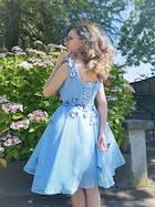 Baby Blue V Neck Cute Homecoming Dresses SD1005