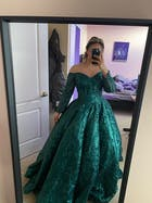Off Shoulder Prom Gowns Emerald Green Quinceanera Dresses FD1097 viniodress