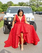 Sparkly Red Sequin High Low Prom Dresses Vintage Ball Gown FD2414 viniodress