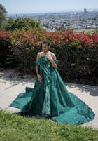 Haute Couture Green Cape Prom Dresses Sequin Pageant Gown FD2513 viniodress