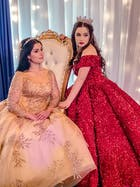Long Sleeve Gold Ball Gown Prom Dresses Sparkly Lace Princess Dress FD1246 viniodress