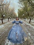 Slate Blue Long Prom Dresses Off the Shoulder Princess Dress FD1042
