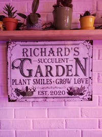 Personalized Succulent Plant Smiles Grow Love Classic Metal Signs