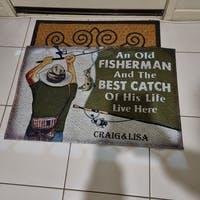 Personalized Fishing Old Couple Live Here Customized Doormat