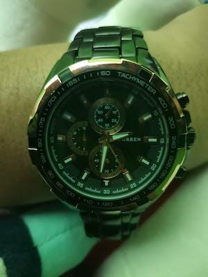 Curren 8023-4-Black/Gold/White Stainless Steel Watch