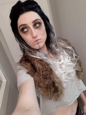 Wavy Black Grey White Ombre Lace Front Synthetic Wig LF781