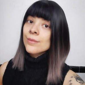 Black Grey Ombre Straight Bob Synthetic Wig NS043